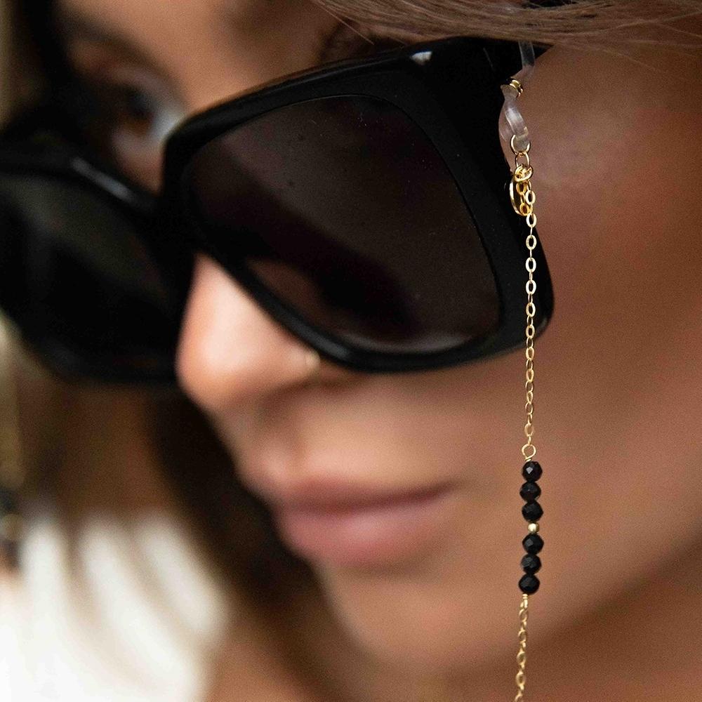 Łańcuszek do okularów srebrny pozłacany z onyksem