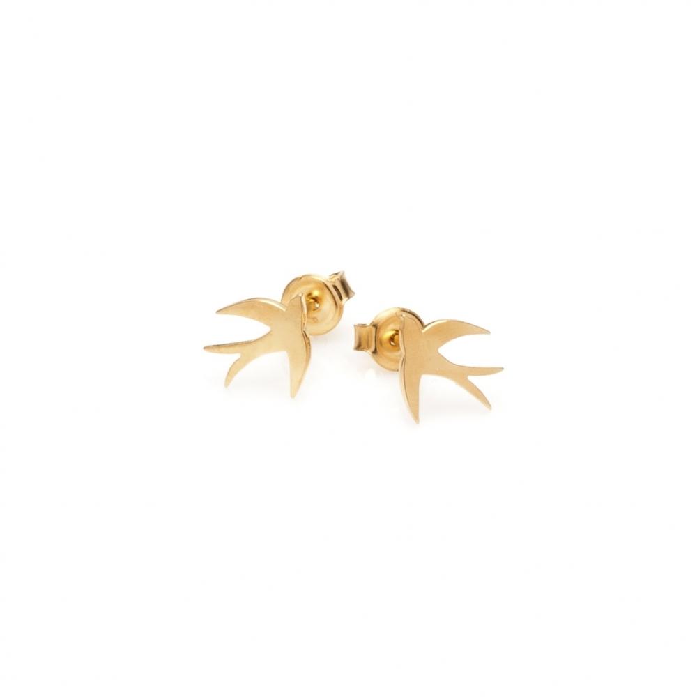Kolczyki BELIEVE srebrne pozłacane z jaskółkami