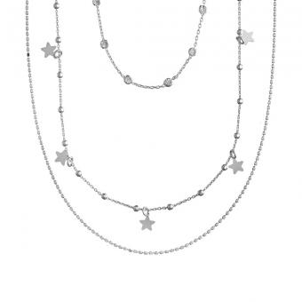 Naszyjnik potrójny SKY srebrny z gwiazdkami i cyrkoniami