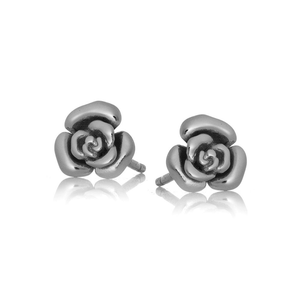 Kolczyki HIPPIE srebrne różyczki
