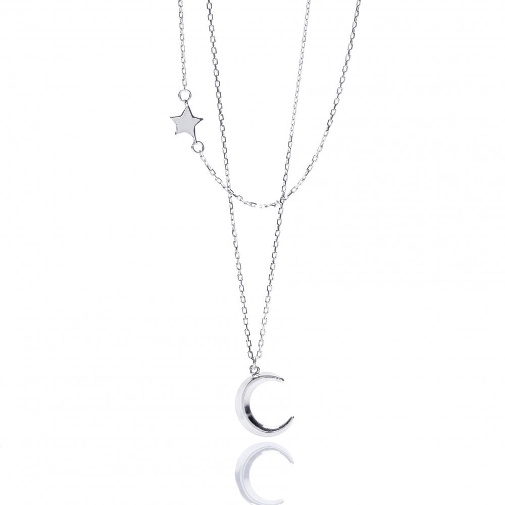 Naszyjnik SKY srebrny z księżycem i gwiazdką
