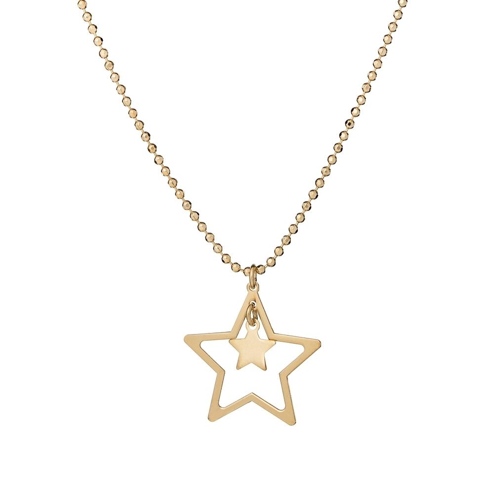 Długi naszyjnik SKY srebrny pozłacany z gwiazdkami