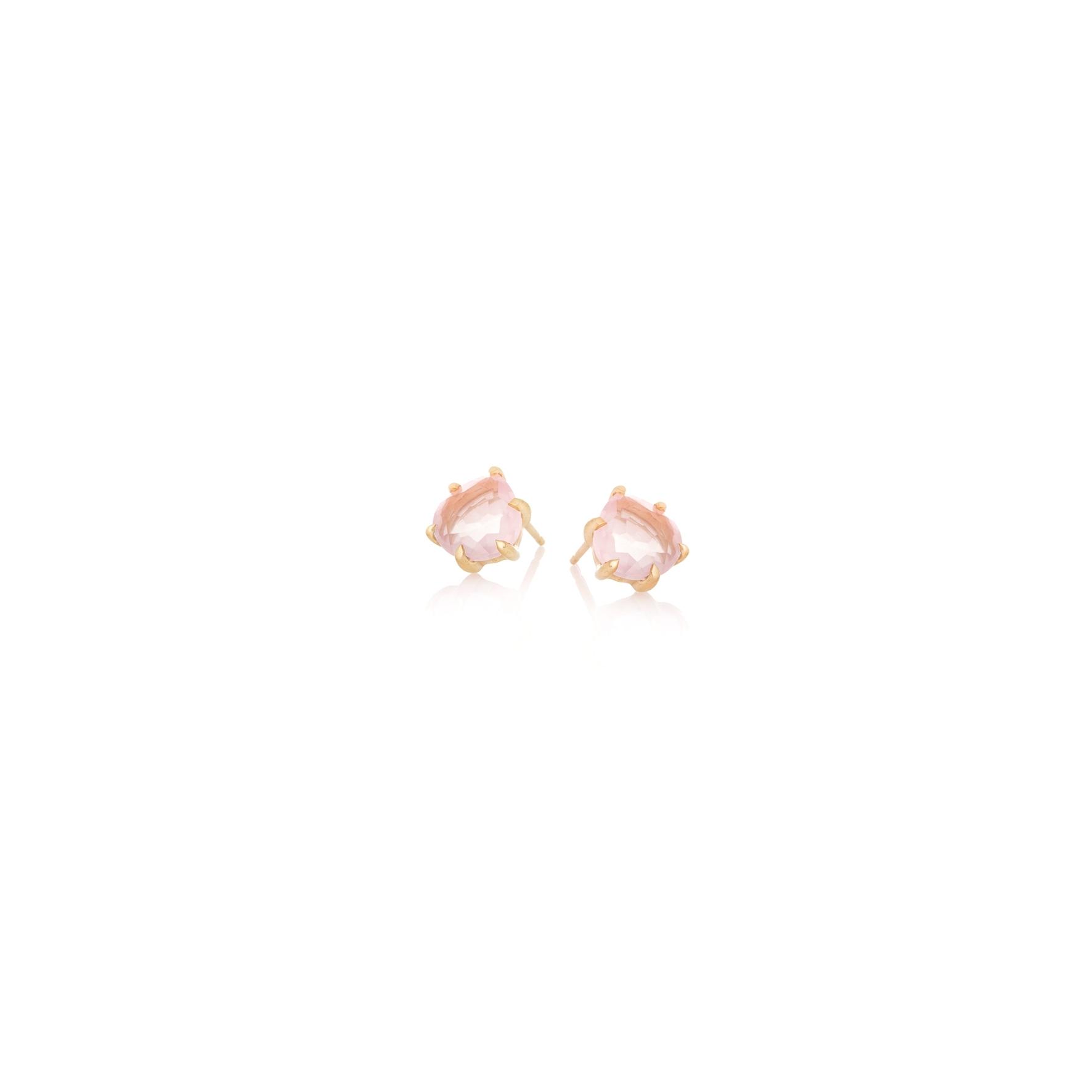 Kolczyki DUO srebrne pozłacane z naturalnym różowym kwarcem
