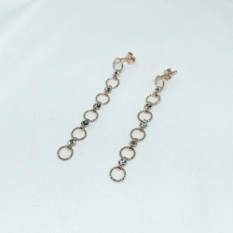 Kolczyki GLAMOUR srebrne pozłacane z cyrkoniami